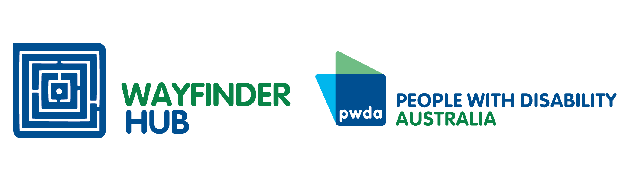 Wayfinder Hub and Pwda logo